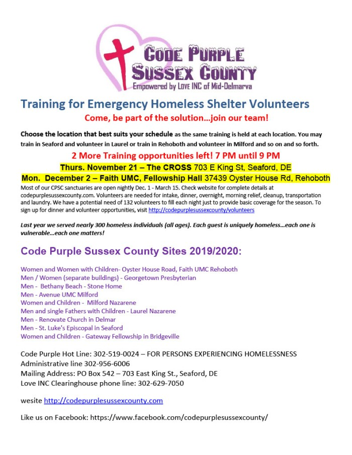 Training for Emergency Homeless Shelter Volunteers poster1024_1
